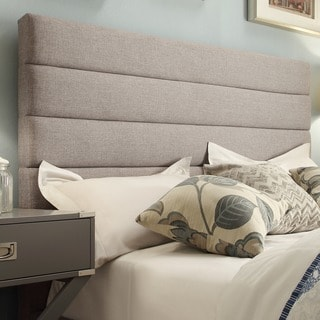 TRIBECCA HOME Corbett Horizontal Striped Gray Linen Upholstered Queen-size Headboard