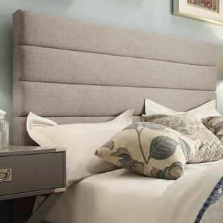 Corbett Horizontal Tufted Gray Linen Upholstered Headboard by iNSPIRE Q Classic