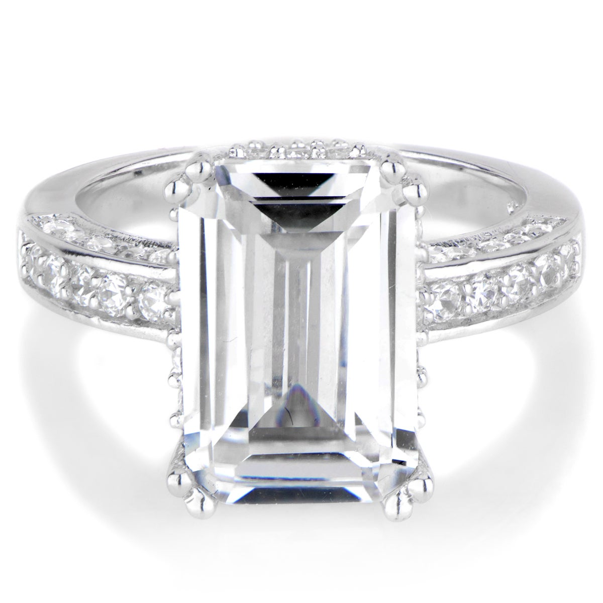 Sterling Silver Emerald Cut Cubic Zirconia Engagement Rin...