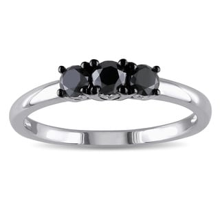 Miadora Sterling Silver 1/2ct TDW Black Diamond Three Stone Ring