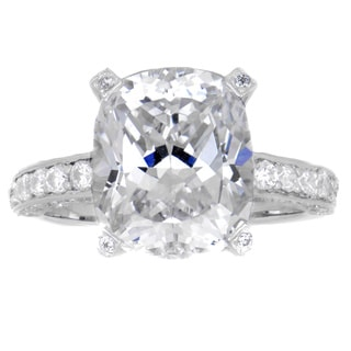 Sterling Silver Cushion Cut Cubic Zirconia Engagement Ring