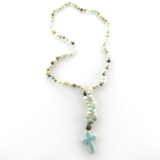 Handcrafted Amazonite Knotted Beads and Hematite with Amazonite CrossPendant Necklace (India)