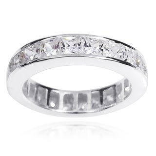 Sparkling Cubic Zirconia Eternity Band .925 Silver Ring (Thailand)