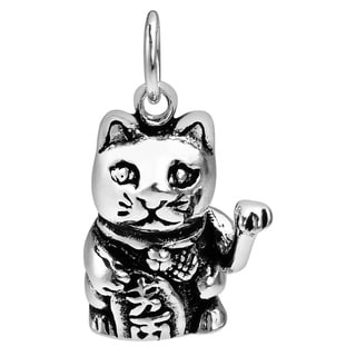 Unique 3D Maneki Neko Lucky Cat Sterling Silver Pendant (Thailand)