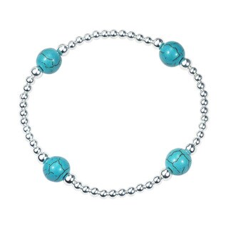 Handmade Galactic Round Turquoise .925 Sterling Silver Elastic Beads Bracelet (Thailand)