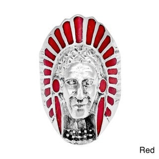 Native American Indian Chief Head Stone .925 Sterling Silver Ring (Thailand)