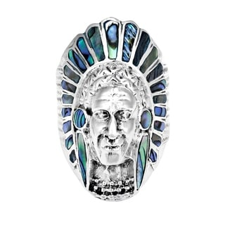 Handmade Native American Indian Chief Head Stone Sterling Silver Ring