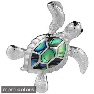 Sea Journey Swimming Turtle Stone .925 Silver Slide Pendant (Thailand)