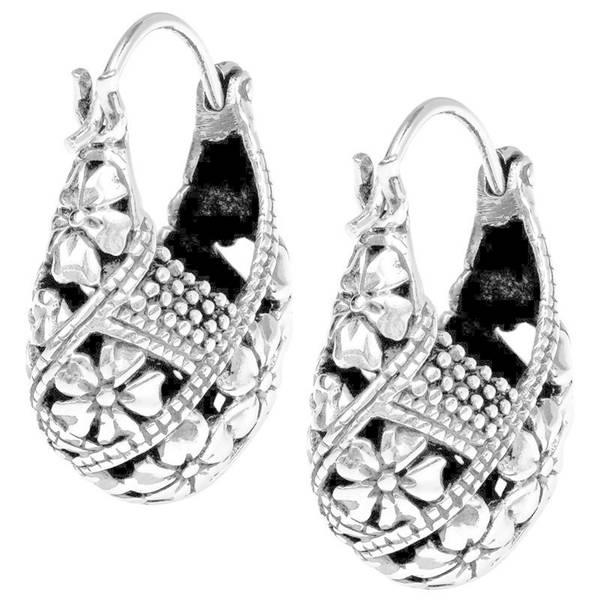 Handmade Gorgeous Plumeria Basket V Lock Hoop .925 Silver Earrings (Thailand)