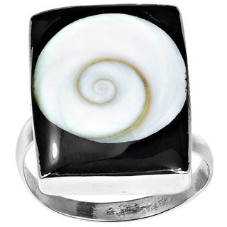Rectangle Swirl Shiva Shell .925 Silver Adjustable Ring (Thailand)