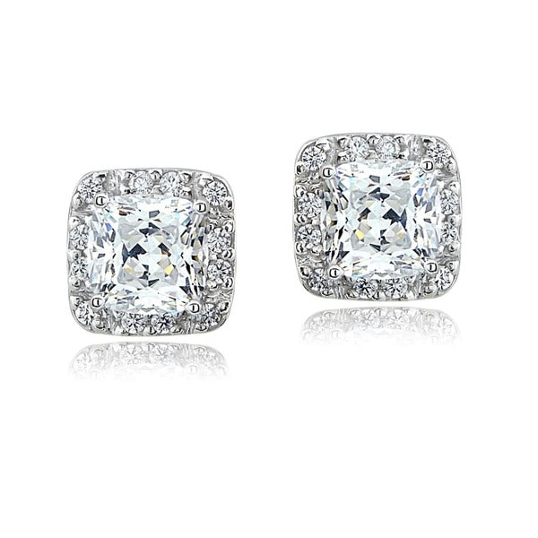 ICZ Stonez Cushion-cut Stud Earring Made with Swarovski Zirconia