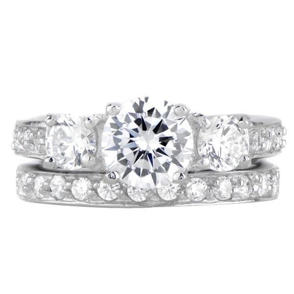 Sterling Silver Cubic Zirconia Three Stones Wedding Ring Set