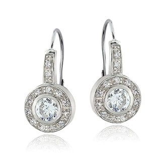 ICZ Stonez Sterling Silver Halo Leverback Earring Made with Swarovski Zirconia