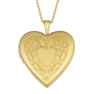 Fremada Yellow Gold over Brass Heart Locket Necklace