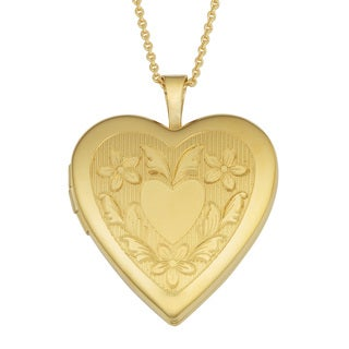 Fremada Yellow Gold Over Brass Floral Border Heart Locket on Gold Filled Chain Necklace (18 inch)