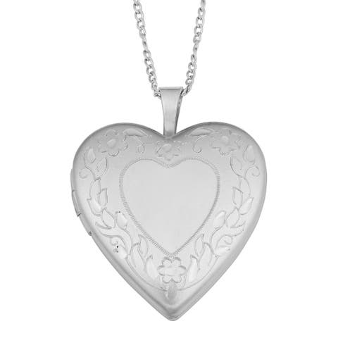 Fremada Brass Floral Border Heart Locket on Sterling Silver Curb Chain Necklace (18 inch) - White