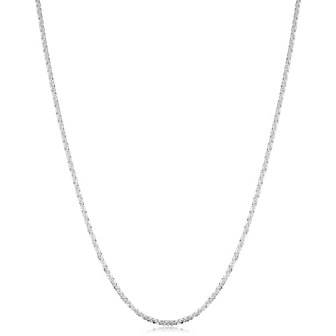 Fremada Sterling Silver 1.6-mm Sparkle Chain Necklace (16 - 36 inches) - White