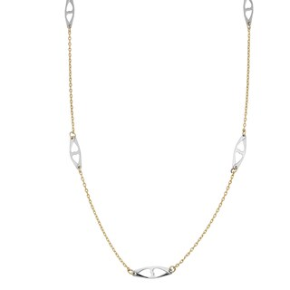 Fremada 14k Two-tone Gold High Polished Finish Fancy Station Necklace (17 inches)