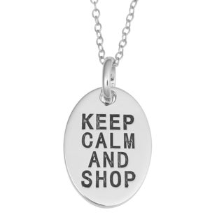 Fremada Rhodium Plated Sterling Silver Keep Calm And Shop Oval Pendant On Cable Chain Necklace