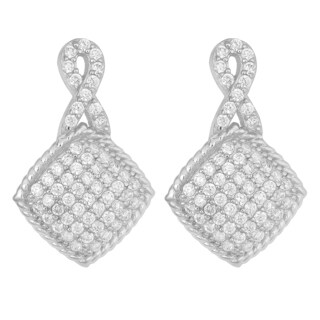 Fremada Rhodium Plated Sterling Silver Pave Cubic Zirconia Infinity Square Drop Earrings