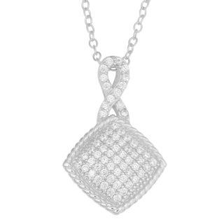 Fremada Rhodium Plated Sterling Silver Cubic Zirconia Infinity Square Pendant On Cable Chain Necklace (18 inch)