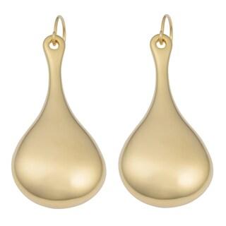 Oro Forte 14k Yellow Gold Elongated Puffed Teardrop Dangle Earrings