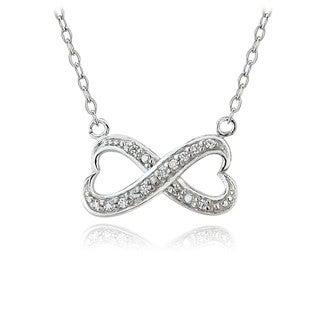 ICZ Stonez Sterling Silver Infinity Necklace Made with Swarovski Zirconia