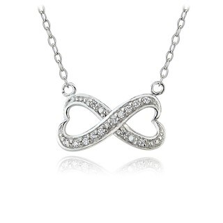 ICZ Stonez Sterling Silver Infinity Necklace Made with Swarovski Zirconia