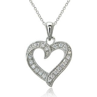 ICZ Stonez Sterling Silver Open Heart Necklace Made with Swarovski Zirconia