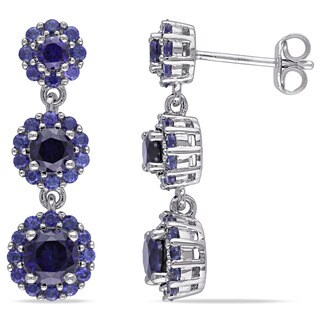 Miadora Sterling Silver Created Blue Sapphire Dangle Earrings