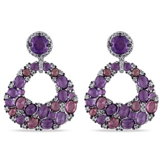 Miadora Signature Collection 10k White Gold Amethyst Rhodolite and 1/2ct TDW Diamond Earrings (G-H, I1-I2)