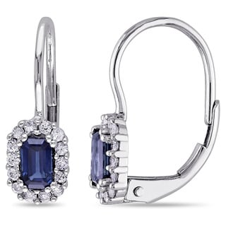 Miadora Childs 14k White Gold Blue and White Sapphire Earrings