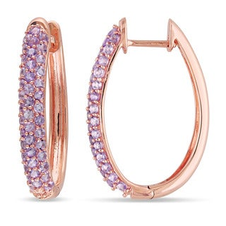 Miadora 10k Rose Gold 1 3/4ct TGW Rose de France Hoop Earrings