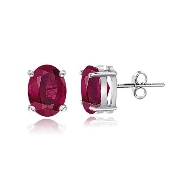 Glitzy Rocks Sterling Silver 5/8ct Glass Filled Ruby Oval Stud Earrings, 5x3 mm