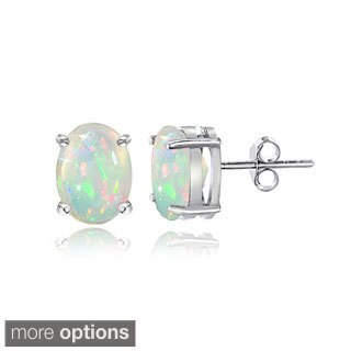 Glitzy Rocks Sterling Silver 1/3ct Ethiopian Opal Oval Stud Earrings - White