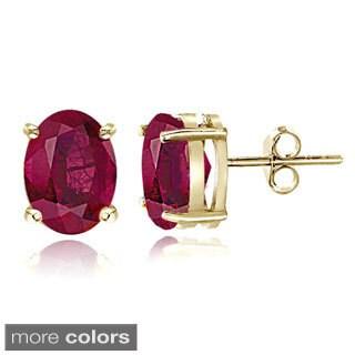 Glitzy Rocks Sterling Silver 1 7/8ct Glass Filled Ruby Oval Stud Earrings, 7x5 mm