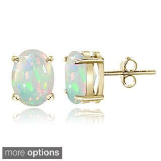 Glitzy Rocks Sterling Silver 4/5ct Ethiopian Opal Oval Stud Earrings, 7x5 mm