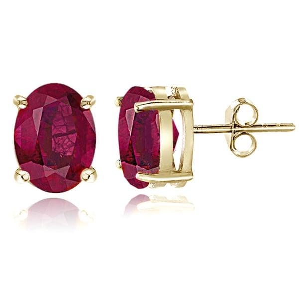 Glitzy Rocks Sterling Silver 3 1/10ct Glass Filled Ruby Oval Stud Earrings, 8x6 mm