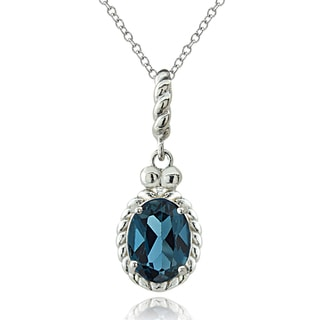Glitzy Rocks Sterling Silver London Blue Topaz Dangle Necklace