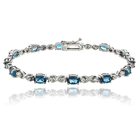 Glitzy Rocks Sterling Silver London Blue and White Topaz Infinity Bracelet