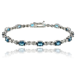 Glitzy Rocks Sterling Silver London Blue and White Topaz Infinity Bracelet