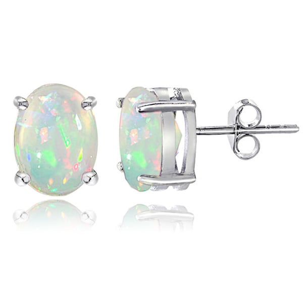 Glitzy Rocks Sterling Silver 1 1/2ct Ethiopian Opal Oval Stud Earrings