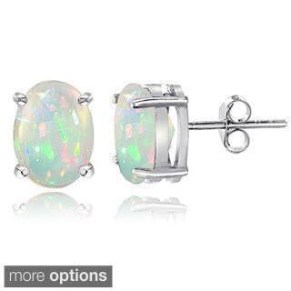 Glitzy Rocks Sterling Silver 1 1/2ct Ethiopian Opal Oval Stud Earrings|https://ak1.ostkcdn.com/images/products/10001375/P17150541.jpg?impolicy=medium