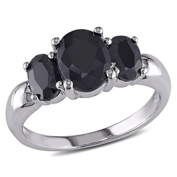 Miadora Sterling Silver Oval Black Sapphire 3-stone Ring