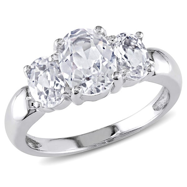 Miadora Sterling Silver Oval Created White Sapphire 3-stone Ring