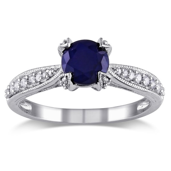 Miadora Silver Sapphire and 1/5ct TDW Diamond Ring (G-H, I1-I2)