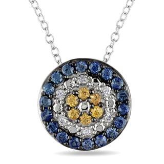 Miadora Silver Multi-Color Sapphire and Diamond Accent Necklace