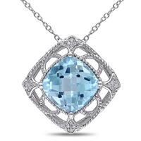 Miadora Sterling Silver 1/10ct TDW Diamond Leaf Necklace (G-H, I2-I3)
