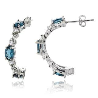 Glitzy Rocks Sterling Silver London Blue and White Topaz Half Hoop Earrings