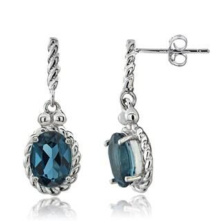 Glitzy Rocks Sterling Silver London Blue Topaz Dangle Earrings